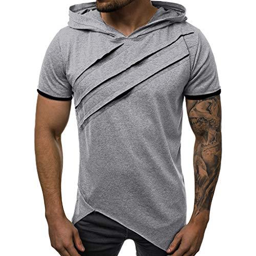 r Kapuzenpullover Casual Patchwork Slim Kurzarm Kapuzen T-Shirt Einfarbig Mesh Top Bluse Lose Herren-Hemd Sport Bekleidung geeignet für Workout Outdoor ()