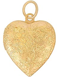 Lifetime Jewelry Heart Locket, 24K Gold with Inlaid Bronze Pendant Necklace for Photos, 18 Inch Chain