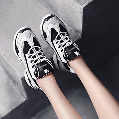 HWF Chaussures femme Chaussures de sport blanc épais Bottom Chaussures de course Femmes Chaussures Femme ( Couleur : Blanc , taille : 35 ) White Black