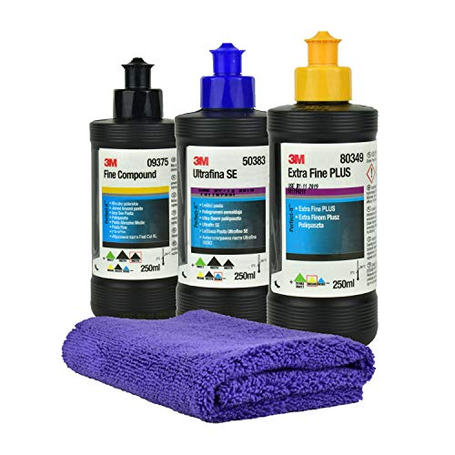 3M 09375 Fine Compound 250ml + 3M 50383 Ultrafiner Compound 250ml + 80349 Extra Fine Plus 250 ML + Gloss Microfiber + Chiffon de Nettoyage et de séchage