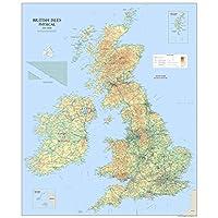 Large British Isles UK Physical Map - Paper Laminated 120 x 100 cm [GM]