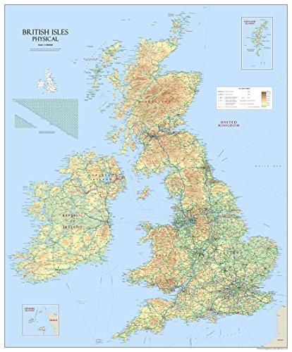 Tiger Moon GM große Landkarte der britischen Inseln, laminiertes Papier, 120x 100cm -
