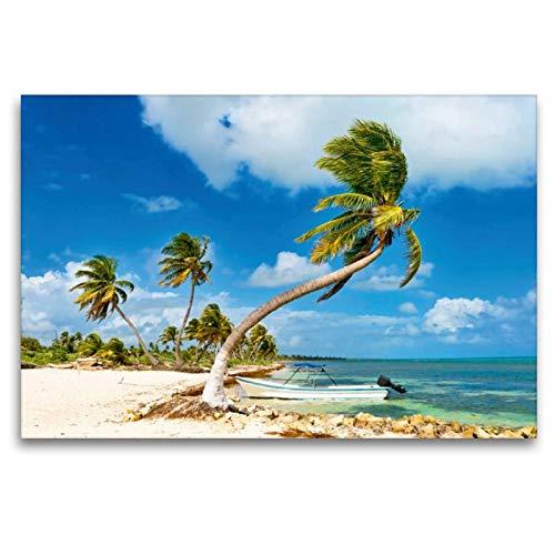 Calvendo Premium Textil-Leinwand 120 cm x 80 cm quer, EIN kleines Boot ankert vor einem traumhaften Palmenstrand an der Costa Maya | Wandbild, Bild auf Maya, Quintana Roo, Mexiko Orte Orte