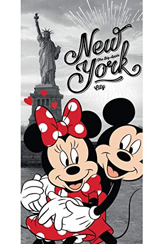 Disney 18TW176 Minnie und Micky Maus in New York Badetuch 70 x 140 (Minnie Maus Handtuch Strand)
