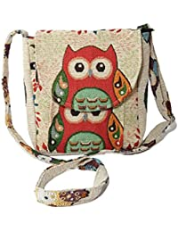 Brocade Ethnic Hippie Multi-Pocket Crossbody Shoulder Bag Purses Sling Bag With Owl Pattern By Our Own Store