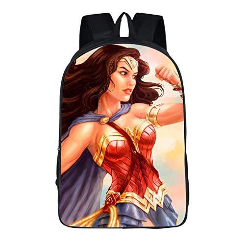 Wvevh Fashion Campus Unisex 3D-Druck Freizeit Wasserdichter Reiserucksack Tablet Bookbag Praktisch mit hoher Kapazität Wonder Woman