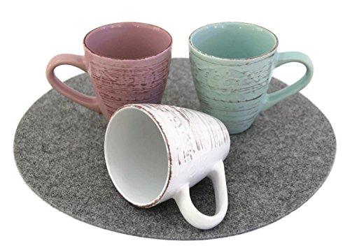 Bada Bing 3er Set Kaffee Tasse Becher Tricolor LANDHAUS + Herz Spülschwamm (Landhaus Geschirr)