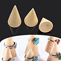 cuiyoush Ring Earring Jewelry Display Stand Holder Wooden Cone Shape Pendant Showing Stand 3Pcs