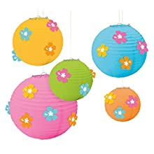 amscan 240067 Hibiscus Paper Lanterns with Add Ons, Multi