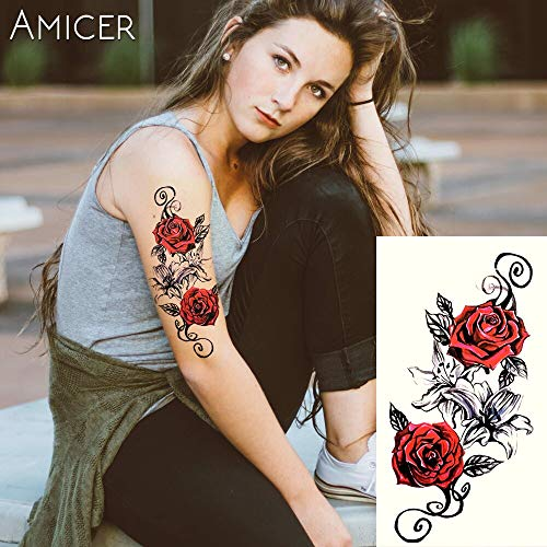 Tzxdbh tatuaggio temporaneo per tatuaggio temporaneo all'hennè in stile nero mehndi nero con rose rosse e bianche