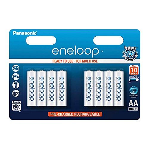 Panasonic eneloop, Ready-to-Use Ni-MH Akku, AA Mignon, 8er Pack, min. 1900 mAh, 2100 Ladezyklen, starke Leistung und geringe Selbstentladung, wiederaufladbare Akku Batterie, Akkubatterie