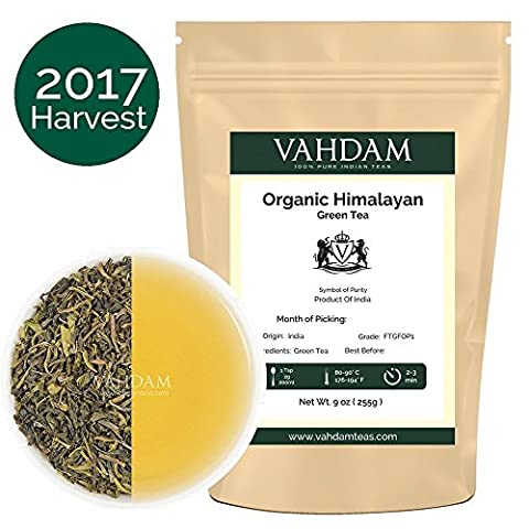 2017 Harvest, Organic Green Tea Leaves from Himalayas (100+ Cups), 100% Green Tea Loose Leaf , Powerful Natural Anti-Oxidants, Green Tea Leaves Organic Sourced from High Elevation Plantations, 255g - Foglia Maker