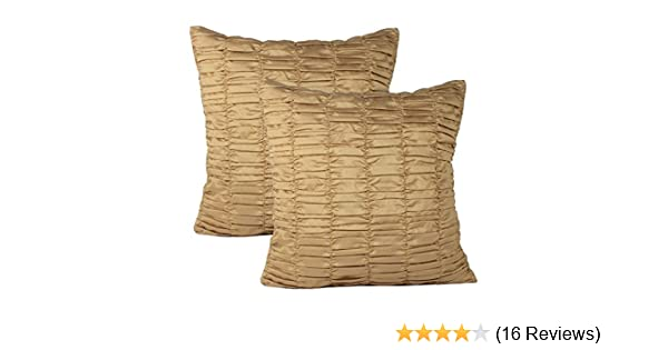 Set of 2 Gold Pillow Covers, Ruched