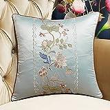 DW HCKK Chinesischen Stil Mahagoni Sofakissen Vintage Stickerei Kissen Bett Gelben Kissen im Büro-H 45x45cm(18x18inch) VersionA