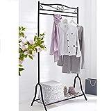 Pureday Garderobe Metall schwarz Kleiderständer mit Schuhablage Breezy ca. 90 x 46 x 172 cm