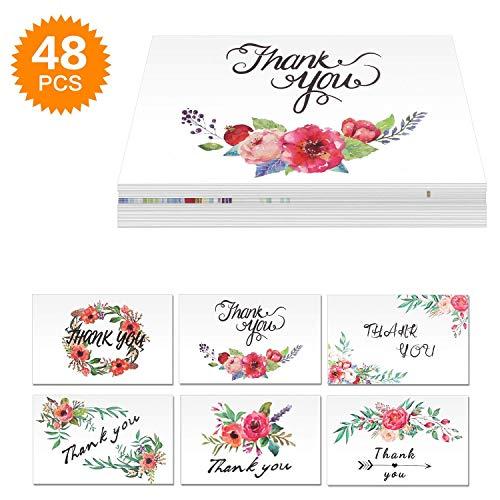 (Powcan 48 Pack Dankeskarten Blumen Blume Grußkarten Anmerkungen Bulk Danke Karten Set Falten Danke Aufkleber für Erntedank Valentinstag Muttertag Urlaub Gruß - Leer Innerhalb mit Umschlag)