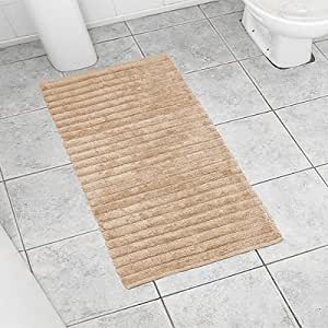 Linens Limited Spa Deep Pile Ribbed Bath Mat, Beige