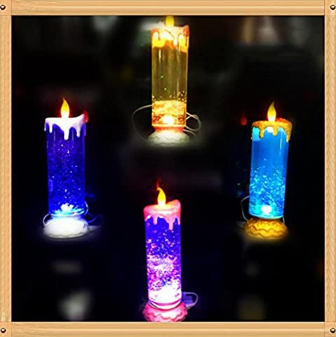 Colorful Rotating Candle Light Crystal Sequins Discoloration USB Christmas Night Light 0.5w