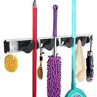 WINOMO Colgador y organizador de pared para trapeadores escobas cepillos y herramientas con 5 Ganchos y 4 secciones antideslizantes