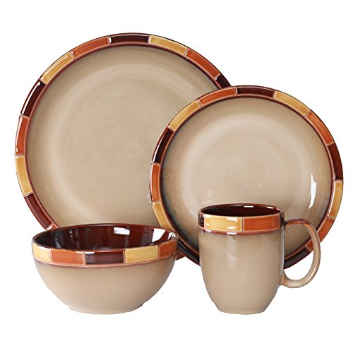 WHITEPEONY Mosaic Orange 16-Piece Stoneware Dinnerware Set, Service for 4