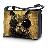 Luxburg® Design Messenger Bag Notebooktasche Umhängetasche für 15,6 Zoll, Motiv: Mieze Cool