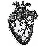 ecusson coeur gris goth gothique hippie 70 paix love amour thermocollant 9x6cm patche badge