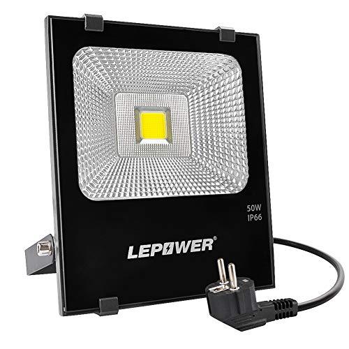 LEPOWER LED Außenstrahler 50W, Flutlicht 6500K 4000lm Fluter superhell Flut- & Spotbeleuchtung IP66 wasserdichte Außenleuchte mit Stromkabel und Stecker, Scheinwerfer (Tageslichtweiß)