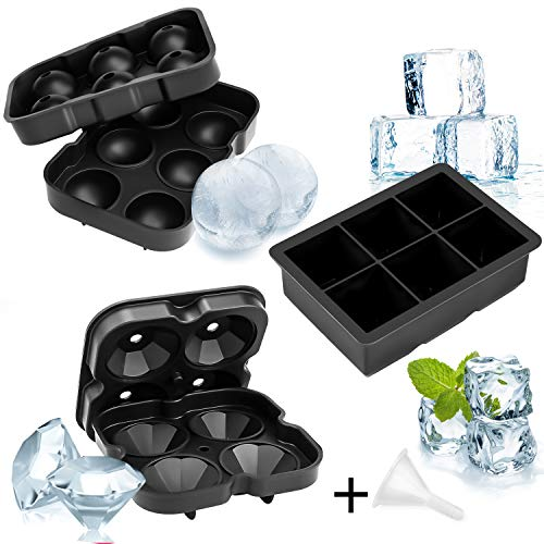 würfelform Silikon 48mm, Eiskugelform 45mm, Diamant-Eiswürfel 50mm, Eiswürfel Eiswürfelschalen, Eiswürfelbehälter mit Deckel für Whisky, Cocktails, Saft, Bars,Pudding ()