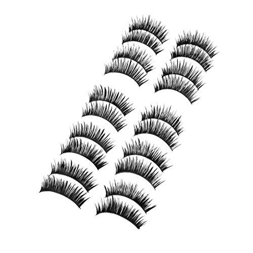 sourcingmap 10 Paires Soirée Costumée Maquillage Noir Epais Frisé Faux-Cils pour Femme