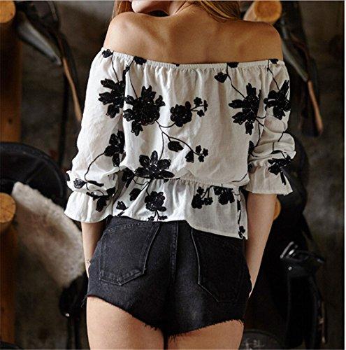 QIYUN.Z Sexy Col Bateau Blanc a Manches Longues Imprimes Floraux Femmes Mini-Sommets Tunique Chemisier Blanc