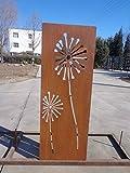 Garten Sichtschutz aus Metall Rost Gartenzaun Gartendeko edelrost Sichtschutzwand 031654-2 125*50*2cm