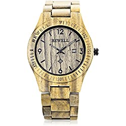 GBlife BEWELL ZS - W086B Mens Wooden Watch Analog Quartz Movement with Date Display Retro Style(vera wood )