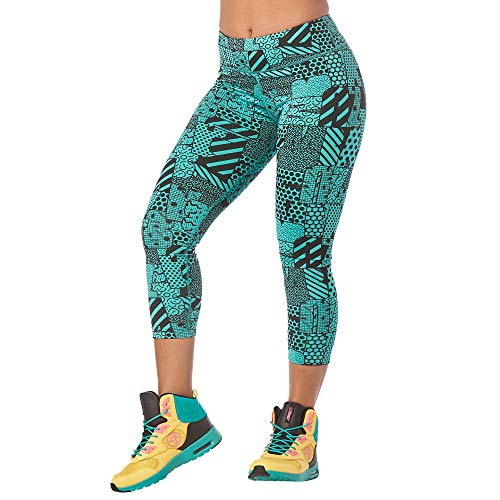 Compression Workout Leggings EverythingM Waistband FemmeTeal Zumba Dance Fitness Me Fit Women For Print Capri Wide IH92ED