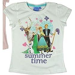 Disney Frozen - Camiseta de Manga Corta - Para Niña Blanco 4 Años