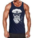 Neverless Herren Tanktop Totenkopf Kapitän Captain Skull Bard Hipster Original Spirit Seemann Muskelshirt Navy XL