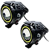 #8: AutoSun CREE U7 Led Car Motorcycle LED Headlight Spotlight Lamp Driving Fog Lights for Cars Trucks Boat with Angel Eyes Waterproof 3 Modes High-Low-Strobe Super Bright With White BLUE RED Ring Strip Color Light Angel Light Small-White And Angel Light Big-Blue (Devil eyes color -Red) (SET OF 2)