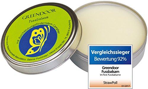 VERGLEICHSSIEGER: Greendoor Fussbalsam 4-fache Ergiebigkeit = Sie benutzen davon viel weniger als von einer Fusscreme, 100% natürlich, 75 ml, wasserfrei, Schrundensalbe, anti Fussgeruch, erfrischte gut durchblutete gesündere Füsse, Naturkosmetik aus der Manufaktur, Fuss Balsam Creme, all natural, Made in Germany (Sulfat-salbe)