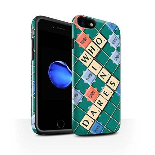 STUFF4 Glanz Harten Stoßfest Hülle / Case für Apple iPhone 8 / Ignoranz Glück Muster / Scrabble Worte Kollektion Wer Wagt Es