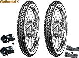 2 Weißwand Reifen von Continental + Schläuche + Felgenband - 2 1/4 x 19 (Alt 23 x 2,25)