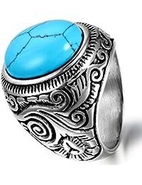 Flongo anillos de los hombres de acero cuentas azules estilo retro tamaño diferente estilo elegante mosaico elegido