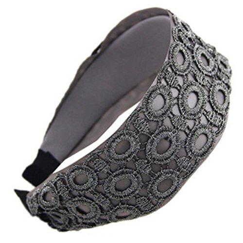 Large Elégant Bandeau Hairband Coiffe Dentelle Accessoires cheveux, Gris