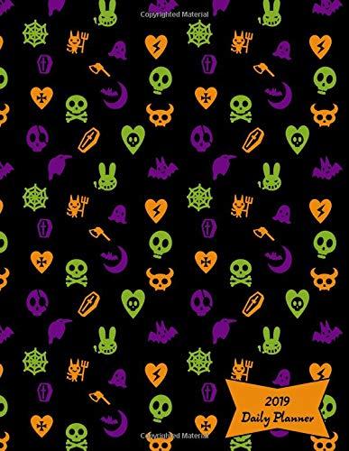 2019 Daily Planner: Cute Skulls, Goth Hearts & Evil Bunnies Halloween Colors Calendar with Goal-Setting Section, 8.5