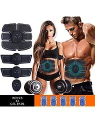 MASOMRUN Electrostimulateur Musculaire Entraînement Abdominal/Cuisse/Bras Muscle EMS Forme d'exercice Fitness,Ceinture Abdominale Electrostimulation et 10 Coussinets de Gel