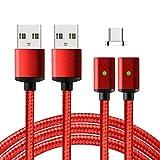 Lively Life USB C Kabel - 2 kabels+1 Magnetstecker- EasyConnect Magnetisches USB Type C Ladekabel Datenkabel für Type C Geräte für Sony/Samsung / Lumia/Nokia / Huawei/HTC 1m Nylon Rot