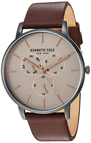 Kenneth Cole New York Men's Quartz Stainless Steel and Leather Casual Watch, Color:Brown (Model: KC50008002)