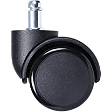 Songmics PU Ruedas para sillas de oficina Sillas giratorias para suelos duros con Freno de seguridad Vástago Ø 11 mm (Pack de 5 unidades) OBG103