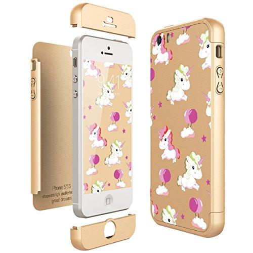 ab6ea33bd47 CE-Link Funda iPhone SE/iPhone 5 / iPhone 5s, Carcasa Fundas para iPhone SE/iPhone  5 / iPhone 5s 3 en 1 Desmontable Ultra-Delgado Anti-Arañazos Case ...