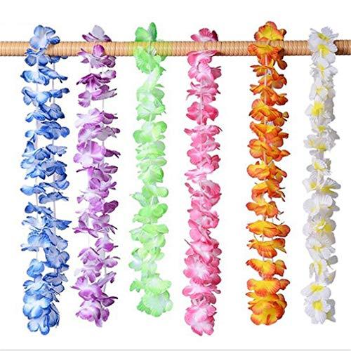 Sevenfly 36 Paket Hawaiian Leis tropischen hawaiianischen Luau Blume lei Partei liefert mit Multicolor floral für Thema Party Dekorationen (Farbe)
