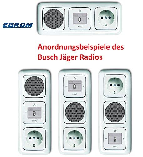 Preisvergleich Produktbild Busch Jäger Unterputz UP Bluetooth Radio 8217 U (8217U) alpinweiß Komplett-Set Reflex SI Lautsprecher + 20EUC-214 Steckdose + Radioeinheit in 3 fach Rahmen integriert