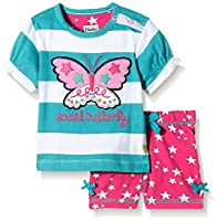 Hatley Baby Girls 0-24m Infant Sleeve Tee & Shorts Electric Butterfly Clothing Set, Multicoloured (Turquoise), 3-6 Months